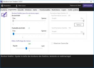 Windows Ium Tweaker permet aussi de modifier l'ergonomie de Windows