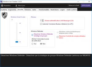Le Tweaker Windows permet d'ajouter Windows Defender dans la barre des tâches