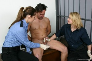 CFNMExposed - Bettie, Kirsten - Guards Jack Off Naked Handcuffed Crim