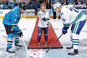 Shawn Johnson drops the ceremonial first puck at a Sharks game x1 Instagram