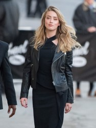 Amber Heard - Arriving at Jimmy Kimmel Live in Hollywood 11/18/15