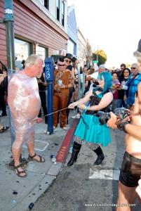 AliceInBondageLand - Folsom Street Fair Public CBT - Lightpost FemDom Ballbusting Humiliation