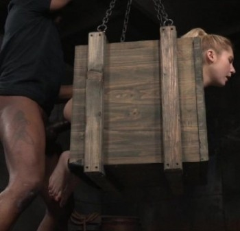 Odette Delacroix - Tiny blonde Odette Delacroix bound inside a box and roughly fucked from both ends by cock! (2016) 720p
