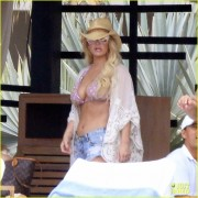 Jessica Simpson - Bikini Top & Shorts Candids in Cabo 3/30/16