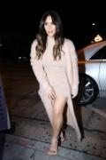 Kim Kardashian - Arriving at Craig's wearing pink fishnet stockings in West Hollywood 3/30/16